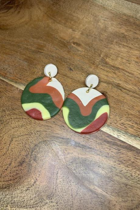 the sophia earrings. cute colorful dangle polymer clay statement earrings