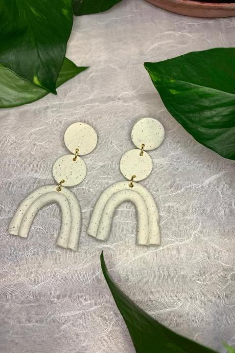 the taylor earrings. cute statement polymer clay arch dangle earrings.