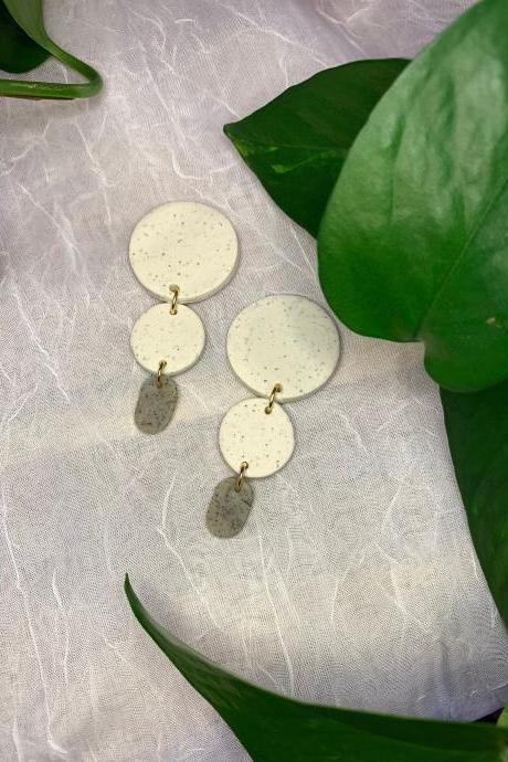 the kambree earrings. cute statement polymer clay granite earrings