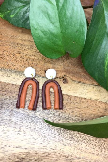 the amelie earrings. cute statement polymer clay arch earrings