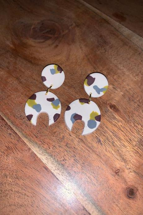 the fiona earrings. cute lightweight staple springy polymer clay earrings.
