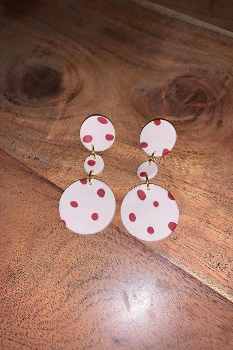the poppy earrings. cute spring polymer clay dangle statement earrings.