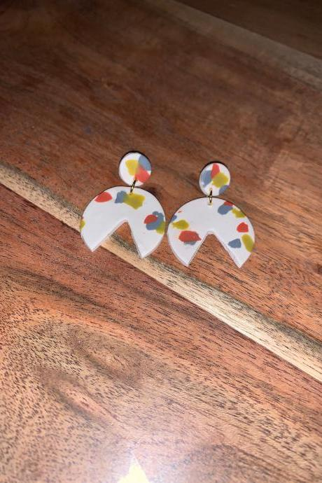 the paige earrings. cute statement polymer clay springy dangle earrings
