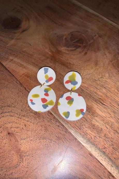 the ellie earrings. spring polymer clay statement dangle earrings