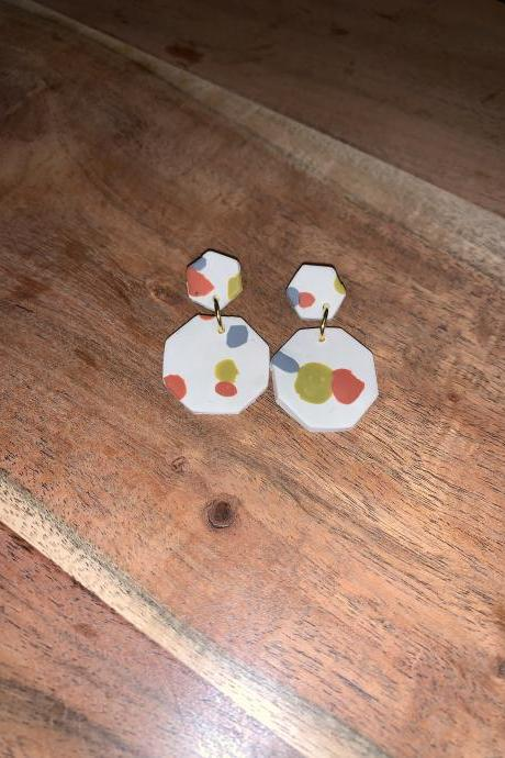 the gea earrings. geometric polymer clay statement earrings