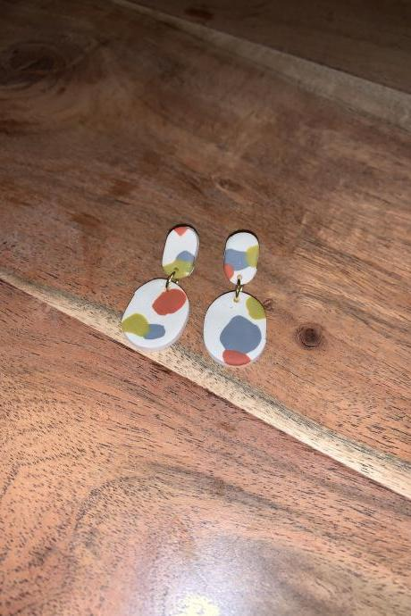 the olivia earrings. cute oval statement polymer clay dangle earrings