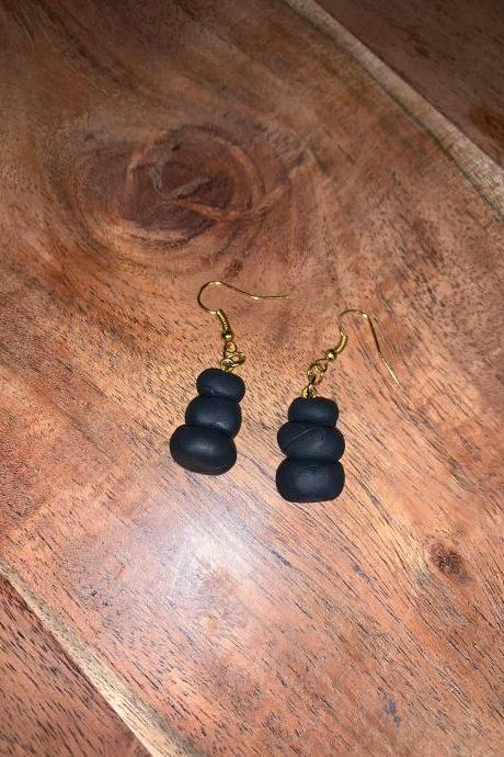 the roxie polymer clay earrings. charcoal stack of rock earrings.