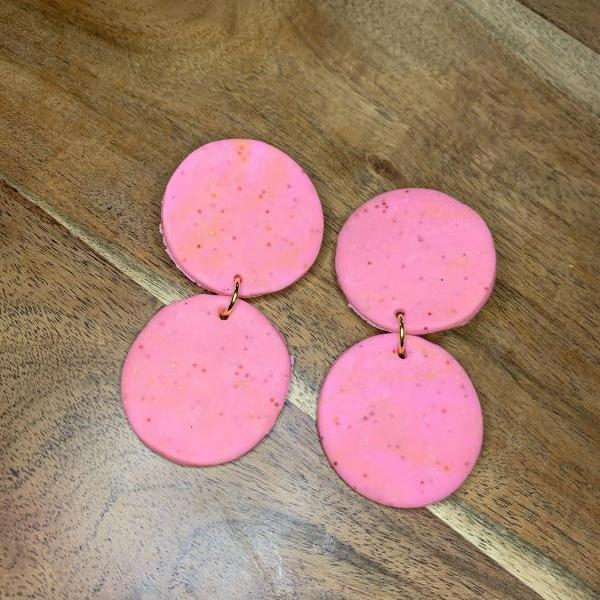 the amelia earrings. pink sparkle statement clay earrings