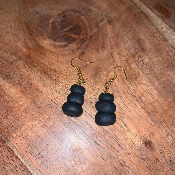 the roxie earrings. charcoal stack of rock earrings.
